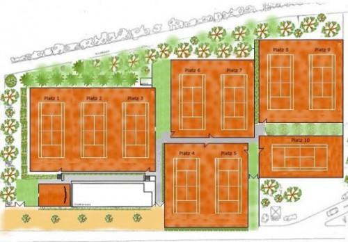 Tennisanlage Skizze